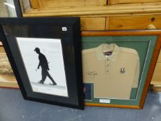ASIGNED LIMITED EDITION MILLENIUM MAN TIGER WOODS PRINT TOGETHER WITH A NICK FALDO SIGNED PGA TOUR