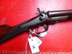 SHOTGUN. T BLAND & SONS 12G. UNDERLEVER HAMMER GUN. (STOCK AND ACTION ONLY RFD REQUIRED FOR BARRELS)