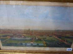 AN 18th.C.HAND COLOURED PRINT OF ISLINGTON BY BOWLES & CARVER, 31 x 44cms TOGETHER WITH OTHER
