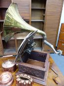 AN INTERESTING EARLY TABLE GRAMOPHONE WITH BRASS HORN AND SWISS MOVEMENT, THE PICK-UP ARM WITH