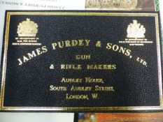 TWO UNUSED JAMES PURDEY AND SONS LEATHER GUN CASE LABELS, A SET OF PURDEY PLACE MARKER CARDS AND A