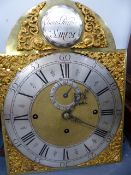 AN 18th.C.MAHOGANY LONGCASE CLOCK WITH ARCHED BRASS DIAL, SILVERED CHAPTER RING AND NAMED ISAAC