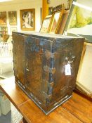A CHINESE EXPORT BLACK LACQUER TWO DOOR CABINET WITH MULTI DRAWER INTERIOR, GILT LANDSCAPE