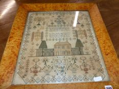 A VICTORIAN NEEDLEWORK VERSE SAMPLER BY ELIZABETH DAVIES, JULY 1846, CENTRAL SCENE OF A HOUSE AMIDST