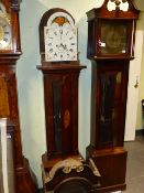 A GEORGIAN OAK CASED 8 DAY LONGCASE CLOCK WITH PAINTED ARCH DIAL