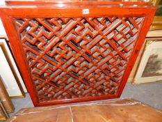 A PAIR OF CHINESE RED LACQUER LATTICEWORK WINDOW PANELS. H.86 x W.80cms.