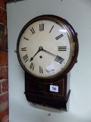 "A GOOD LATE GEORGIAN MAHOGANY AND BRASS STRUNG CASED DROP DIAL WALL CLOCK WITH 8"" CONVEX PAINTED"