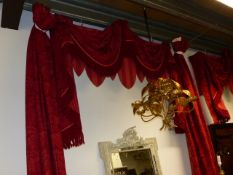 TWO PAIRS OF RED ITALIANTE PATTERN BESPOKE LINED AND INTERLINED DRAPES/CURTAINS WITH ASSOCIATED