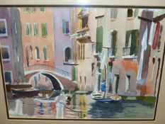 ------ KEEN (20th.C.) (ARR) VENICE CANAL SCENE, SIGNED WATERCOLOUR. 25 x 34.5cms.