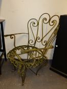 A GOOD SET OF 10 WROUGHT IRON GARDEN OR PATIO CHAIRS WITH WEATHERED PATINATION