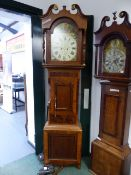 """A VICTORIAN OAK AND MAHOGANY CASED 8-DAY LONG CASE CLOCK WITH 14.5"""" PAINTED ARCH TOP DIAL, SIGNED"""