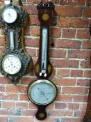 A 19th.C.MAHOGANY AND INLAID TWO GLASS BANJO BAROMETER WITH SILVERED DIAL SIGNED ARNOLD & CO