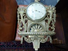 A 19TH CENTURY SWEDISH PINE CASED WALL CLOCK
