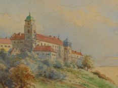 19th/20th/C.ENGLISH SCHOOL. CONTINENTAL TOWN ON A HILL, WATERCOLOUR. 13.5 x 23.5cms TOGETHER WITH
