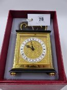 A VINTAGE LUXOR DRESSING TABLE CLOCK OF CARRIAGE CLOCK FORM CONTAINED IN ORIGINAL BOX WITH