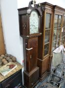 """A GOOD GEORGIAN OAK CASED 8-DAY LONG CASE CLOCK WITH 12"""" PAINTED ARCH TOP DIAL SIGNED Wm.SCOTT,"""