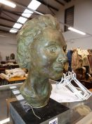 A GOOD POTTERY PORTRAIT BUST ENTITLED SARAH BY CYNTHIA SPEARS. (ARR) H.32cms.