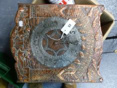 AN INTERESTING ARTS AND CRAFTS EMBOSSED COPPER FRONTED WALL CLOCK WITH PEWTER CHAPTER RING AND