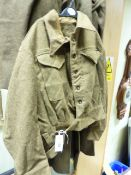 A BRITISH HOME GUARD BRX10 BATTLEDRESS BLOUSE No.12 TOGETHER WITH A MATCHING GREAT COAT.