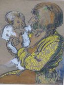 ADRIAN ALLINSON (1890-1959) (ARR) MOTHER AND CHILD, SIGNED BODY COLOUR AND CHARCOAL. 32.5 x 24cms.