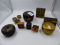 A COLLECTION OF JAPANESE LACQUER MINIATURE PIECES TO INCLUDE CHESTS OF DRAWERS, ETC TOGETHER WITH