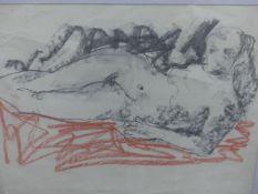 HUGO DACHINGER (1908-?) (ARR) RECLINNG NUDE, MIXED MEDIA. 42 x 55cms.