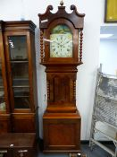"""A VICTORIAN OAK AND MAHOGANY CASED 8-DAY LONG CASE CLOCK WITH 13"""" PAINTED ARCH TOP DIAL, SIGNED Wm."""