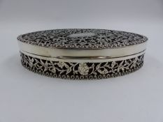 A STEPHENS AND SONS MANCHESTER CHESTER HALLMARKED SILVER OVAL DRESSER BOX WITH LEATHER INNER WITH