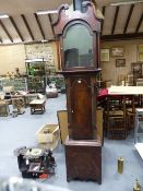 "A LATE GEORGIAN MAHOGANY CASED 8-DAY LONGCASE CLOCK WITH 13"" PAINTED ARCH DIAL WITH MOONPHASE,"