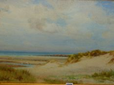 GEORGE COCKRAM (1861-1950) (ARR) SAND DUNE WITH SEA BEYOND, SIGNED WATERCOLOUR. 39.5 x 65cms.