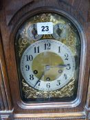 A VICTORIAN OAK CASED MANTLE CLOCK WITH 3 TRAIN CHIMING MOVEMENT TOGETHER WITH A SMALL BRACKET CLOCK