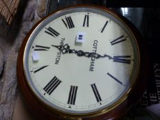 """A 19th.C.MAHOGANY CASED 12"""" PAINTED DIAL FUSEE WALL CLOCK SIGNED COTTINGHAM, THRAPSTON."""