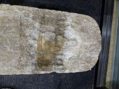 A WEATHERED CHINESE CARVED STONE STELE OF ARCHED FORM WITH CENTRAL DEITY SURROUNDED BY ATTENDANTS.
