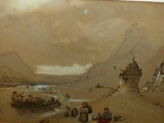 19th.C.ENGLISH SCHOOL. DRACHEU FALLS, CHARCOAL AND WATERCOLOUR INDISTINCTLY SIGNED AND DATED 1852.