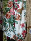 TWO PAIRS OF BESPOKE LINED AND INTERLINED FLORAL PATTERN DRAPES/CURTAINS.