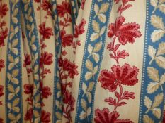 TWO PAIRS OF BESPOKE STRIPED LEAF PATTERN LINED AND INTERLINED DRAPES/CURTAINS WITH ASSOCIATED