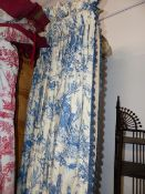 THREE PAIRS OF BESPOKE BLUE PATTERN LINED CURTAINS/ DRAPES, ONE OF TOILE DE JOUY DESIGN TOGETHER