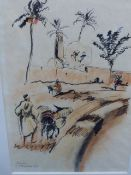 SYLVIA ALDBURGHAM (20th.C.) (ARR) VIEW OF MARAKESH, SIGNED AND DATED '37, INK AND WASH. 31.5 x 22.