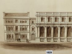 J.A. CHATWIN (19TH CENTURY) ARCHITECTURAL FACADE, SIGNED MONOCHROME WASH OVER PENCIL. 29 x 56.5cms.