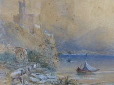 ENGLISH SCHOOL (19th.C.) LAKE AND MOUNTAIN LANDSCAPE WITH FIGURES, WATERCOLOUR HEIGHTENED IN WHITE