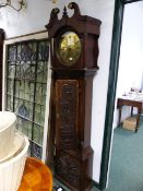 """A 19th.C.OAK CASED 8-DAY LONG CASE CLOCK WITH CARVED CASE, 13"""" ROUND DIAL TITLED UTOXETER. H."""