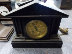 A GROUP OF CLOCKS TO INCLUDE THREE VICTORIAN SLATE MANTLE CLOCKS, A NAPOLEON HAT CLOCK, AN