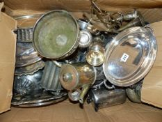 A LARGE COLLECTION OF EPNS, SILVER PLATED WARE,ETC.