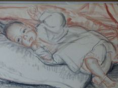 DAME LAURA KNIGHT (1877-1970) (ARR) PORTRAIT OF A BABY, SIGNED CHARCOAL AND CHALKS. 39 x 55.5cms.