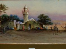 ROBERT MURDOCH WRIGHT (1858-1926) CAIRO, SIGNED AND TITLED WATERCOLOUR. 23 x 52cms.