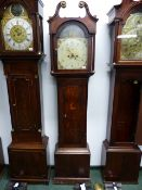 """A 19th.C.OAK CASED 8-DAY COUNTRY LONG CASE CLOCK WITH 12"""" PAINTED ARCH DIAL SIGNED SAW***?, LOUTH."""
