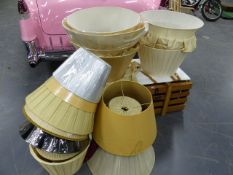 A LARGE COLLECTION OF SILK AND OTHER BESPOKE AND DESIGNER LAMPSHADES OF VARIOUS DESIGN AND SIZE.