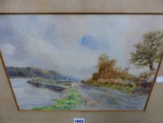 A.W.GOLDING (LATE 19th/EARLY 20th.C.) RIVER PATH WITH FIGURES, SIGNED AND DATED 1907, WATERCOLOUR.