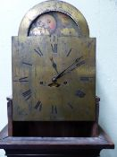 "A LATE GEORGIAN MAHOGANY CASED LONGCASE CLOCK WITH 8-DAY MOVEMENT, 12 "" ARCH DIAL SIGNED P.STRATTON,"