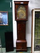 """A GEO.III.MAHOGANY CASED 8-DAY LONG CASE CLOCK WITH 13.5"""" BRASS ARCH TOP DIAL SIGNED A.HOWE,"""